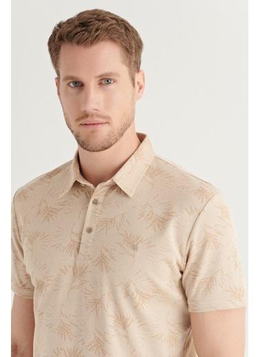 Avva AVVA Erkek Bej Polo Yaka Jakarlı T-Shirt A11Y1131 Bej